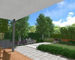 Ogród na dwóch poziomach - Średni ogród za domem zadaszony przedłużeniem dachu, styl nowoczesny - zdjęcie od Rock&Flower studio