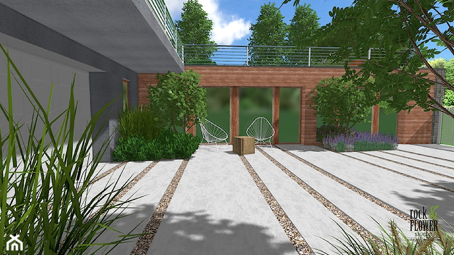 Ogród na dwóch poziomach - Średni ogród przed domem - zdjęcie od Rock&Flower studio