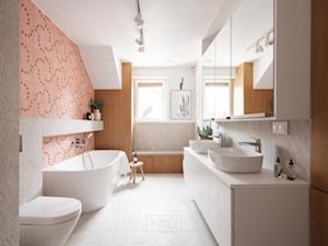 Dom, w którym czuć rodzinną atmosferę i pachnie świeżym chlebem - Duża biała szara łazienka w bloku w domu jednorodzinnym z oknem, styl nowoczesny - zdjęcie od GRUPA NONO