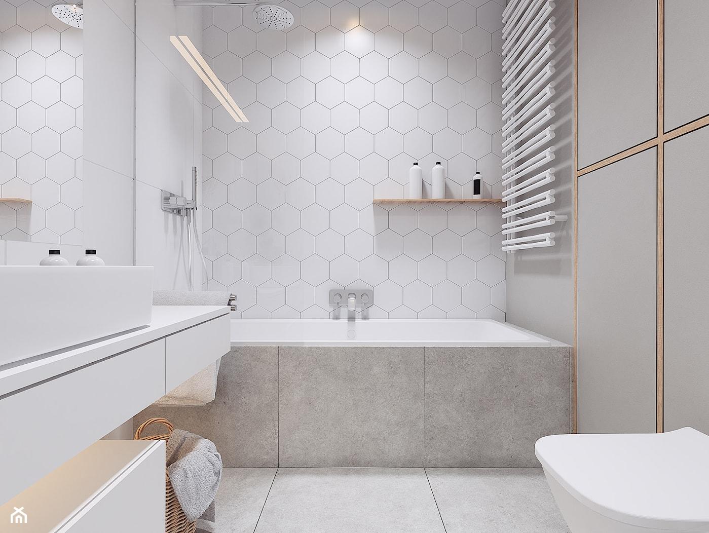 Projekt wnętrz mieszkania w Poznaniu /4/ - łazienka w bieli i szarościach 2 - zdjęcie od YONO Architecture - Homebook