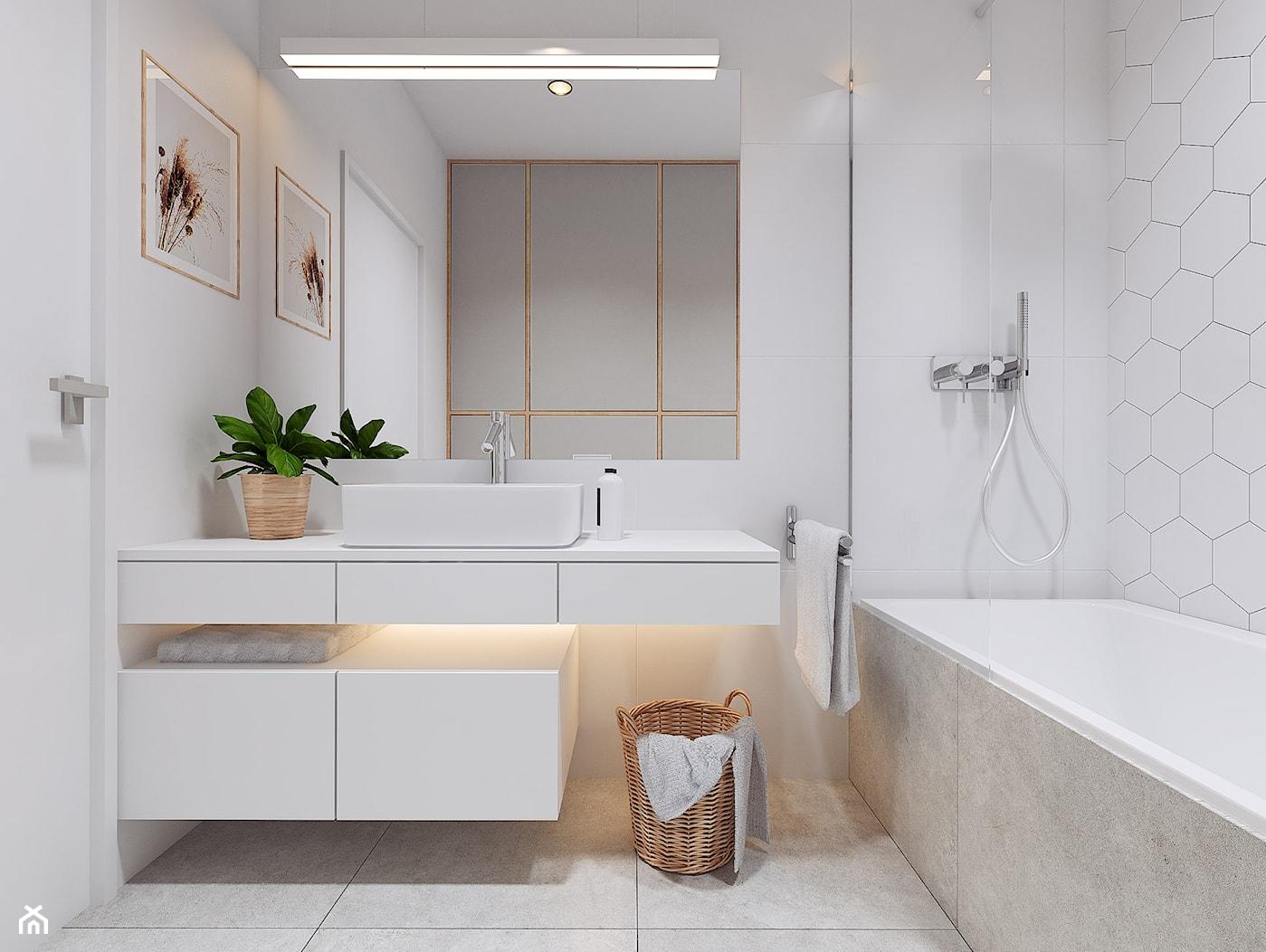 Projekt wnętrz mieszkania w Poznaniu /4/ - łazienka w bieli i szarościach 1 - zdjęcie od YONO Architecture - Homebook