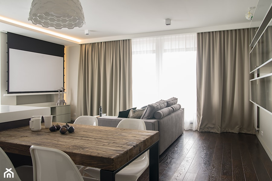Apartament w Soho Factory_Warszawa - Średni salon z jadalnią, styl minimalistyczny - zdjęcie od iHome Studio