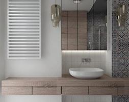 eklektyczna łódź - Mała biała czarna łazienka na poddaszu w bloku w domu jednorodzinnym bez okna, styl eklektyczny - zdjęcie od iHome Studio