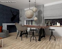 Pod łosiem - Średnia otwarta biała jadalnia w salonie, styl kolonialny - zdjęcie od ESIGN