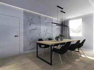 Dom W Chojnowie - Duża otwarta biała jadalnia jako osobne pomieszczenie, styl nowoczesny - zdjęcie od Studio Soko