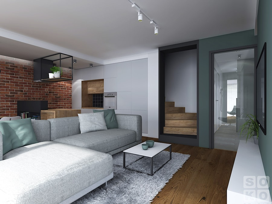Dom w Ścinawie - Średni biały brązowy salon z kuchnią, styl industrialny - zdjęcie od Studio Soko
