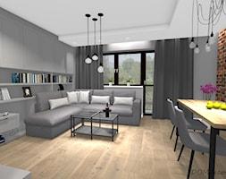 Projekt korytarza, salonu oraz kuchni w stylu industrialnym - Średni szary brązowy salon z tarasem / balkonem, styl industrialny - zdjęcie od DOMdecor Studio Klaudiusz Klepacki