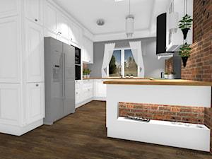 Kuchnia w stylu angielskim/glamour - Duża otwarta szara kuchnia w kształcie litery g z oknem, styl glamour - zdjęcie od DOMdecor Studio Klaudiusz Klepacki