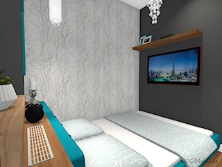 Mała sypialnia z turkusowymi dodatkami