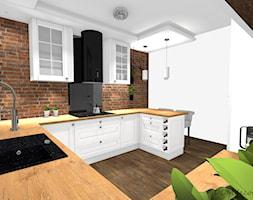 Kuchnia w stylu angielskim/glamour - Średnia otwarta biała kuchnia w kształcie litery g w aneksie, styl glamour - zdjęcie od DOMdecor Studio Klaudiusz Klepacki