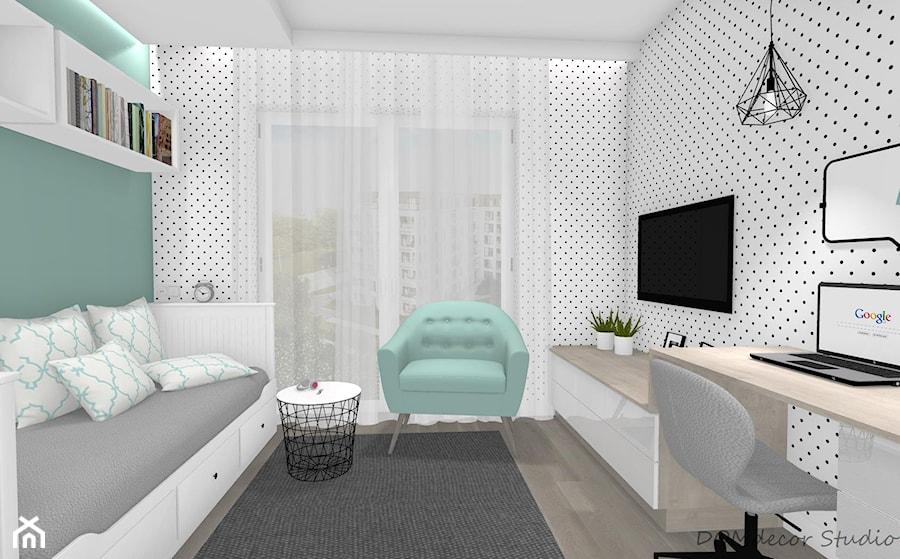 Pokój nastolatki - Mały biały zielony czarny pokój dziecka dla chłopca dla dziewczynki dla ucznia dla nastolatka, styl nowoczesny - zdjęcie od DOMdecor Studio Klaudiusz Klepacki
