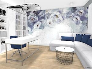 Kobiece biuro - Średnie niebieskie szare biuro domowe w pokoju, styl nowoczesny - zdjęcie od DOMdecor Studio Klaudiusz Klepacki