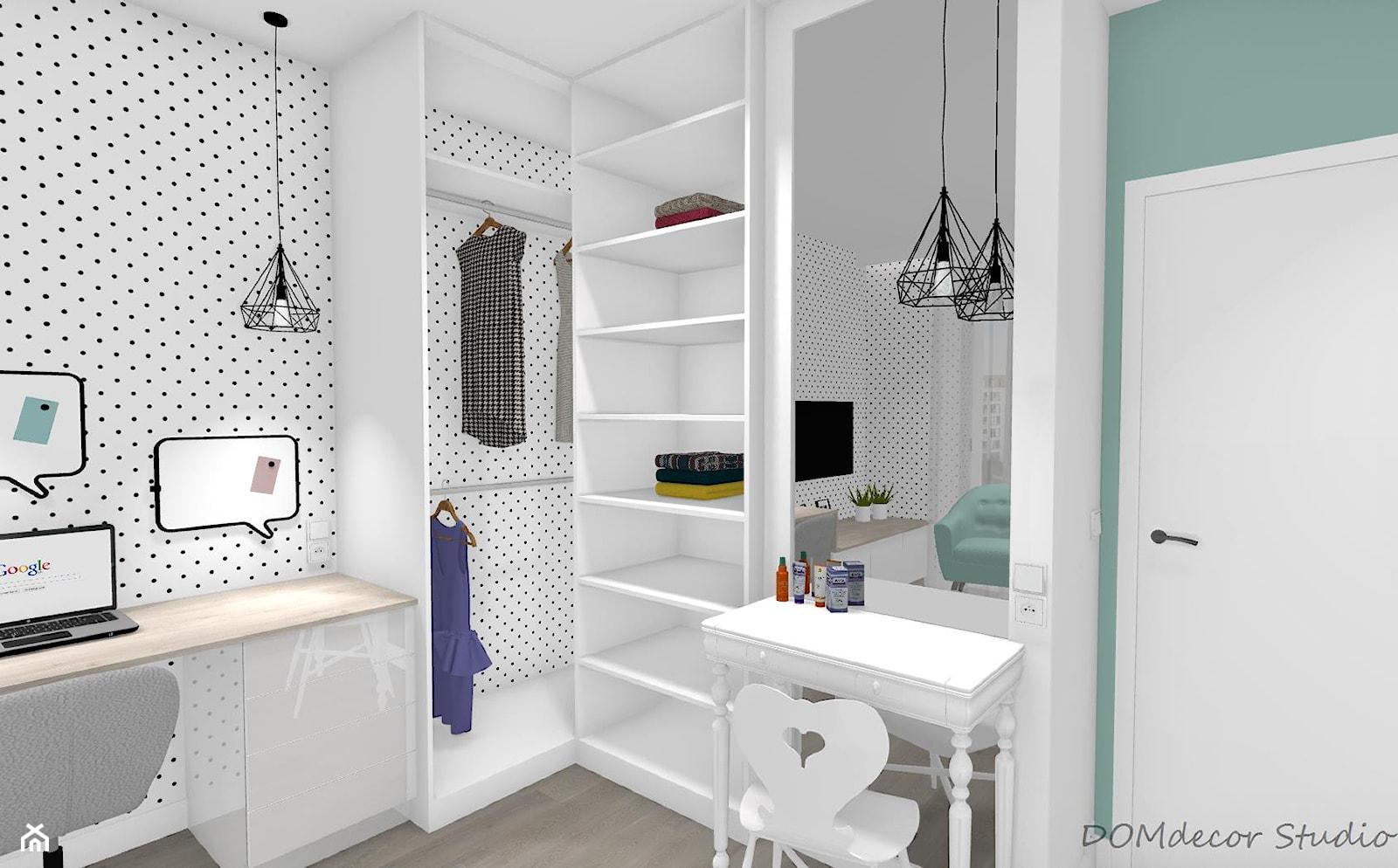 Pokój nastolatki - Mały biały zielony pokój dziecka dla chłopca dla dziewczynki dla ucznia dla nastolatka, styl nowoczesny - zdjęcie od DOMdecor Studio Klaudiusz Klepacki - Homebook