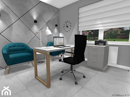 Aranżacje wnętrz - Biuro: Biuro sekretarki - Średnie szare biuro domowe w pokoju, styl nowoczesny - DOMdecor Studio Klaudiusz Klepacki. Przeglądaj, dodawaj i zapisuj najlepsze zdjęcia, pomysły i inspiracje designerskie. W bazie mamy już prawie milion fotografii!