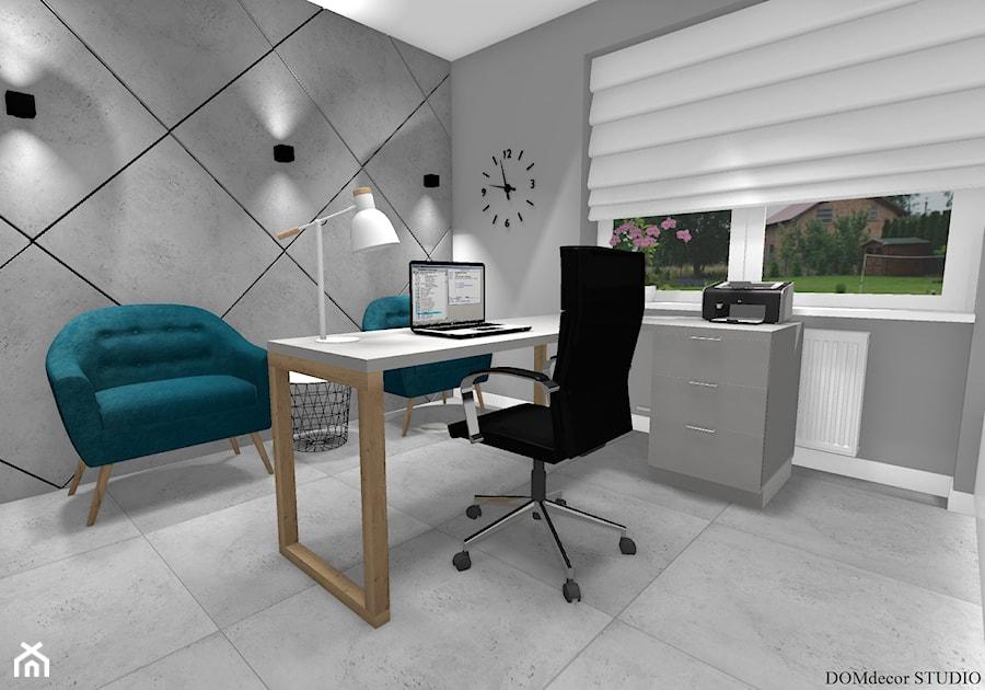 Biuro sekretarki - Średnie szare biuro domowe w pokoju, styl nowoczesny - zdjęcie od DOMdecor Studio Klaudiusz Klepacki