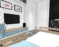"""Pokój chłopca - """"Krzysia"""" - Mały biały czarny pokój dziecka dla chłopca dla malucha, styl skandynawski - zdjęcie od DOMdecor Studio Klaudiusz Klepacki"""