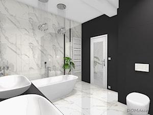 Marmurkowa łazienka w stylu glamour - Średnia biała czarna łazienka na poddaszu w bloku w domu jednorodzinnym bez okna, styl glamour - zdjęcie od DOMdecor Studio Klaudiusz Klepacki