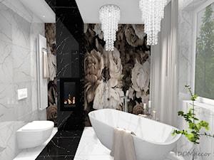 Łazienka/Pokój kąpielowy w stylu glamour - Średnia biała czarna łazienka na poddaszu w bloku w domu jednorodzinnym z oknem, styl glamour - zdjęcie od DOMdecor Studio Klaudiusz Klepacki