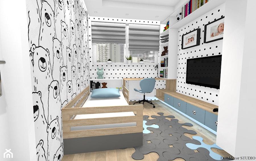 """Aranżacje wnętrz - Pokój dziecka: Pokój chłopca - """"Krzysia"""" - Mały biały pokój dziecka dla chłopca dla dziewczynki dla malucha, styl skandynawski - DOMdecor Studio Klaudiusz Klepacki. Przeglądaj, dodawaj i zapisuj najlepsze zdjęcia, pomysły i inspiracje designerskie. W bazie mamy już prawie milion fotografii!"""