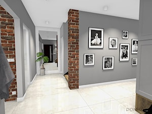 Projekt korytarza, salonu oraz kuchni w stylu industrialnym - Duży szary hol / przedpokój, styl industrialny - zdjęcie od DOMdecor Studio Klaudiusz Klepacki