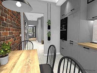Projekt korytarza, salonu oraz kuchni w stylu industrialnym