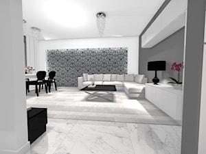 Salon, kuchnia oraz korytarz w stylu glamour