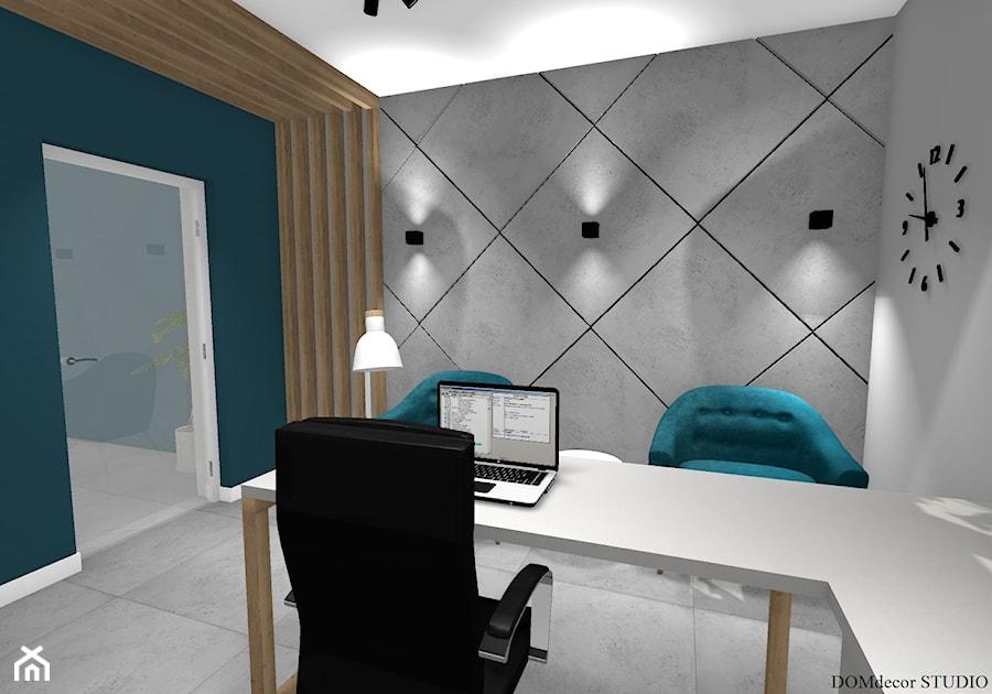 Biuro sekretarki - Średnie szare białe turkusowe biuro pracownia w pokoju, styl nowoczesny - zdjęcie od DOMdecor Studio Klaudiusz Klepacki