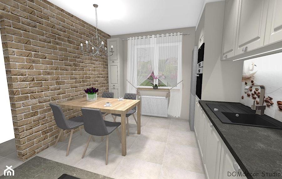 Kremowa kuchnia w stylu klasycznym - Średnia zamknięta biała beżowa kuchnia w kształcie litery l z oknem, styl klasyczny - zdjęcie od DOMdecor Studio Klaudiusz Klepacki