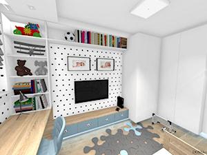 """Pokój chłopca - """"Krzysia"""" - Mały biały pokój dziecka dla chłopca dla ucznia dla malucha, styl skandynawski - zdjęcie od DOMdecor Studio Klaudiusz Klepacki"""
