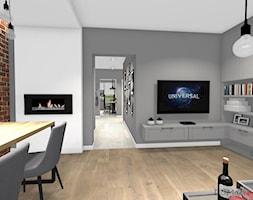 Projekt korytarza, salonu oraz kuchni w stylu industrialnym - Średni szary biały salon z bibiloteczką z jadalnią, styl industrialny - zdjęcie od DOMdecor Studio Klaudiusz Klepacki