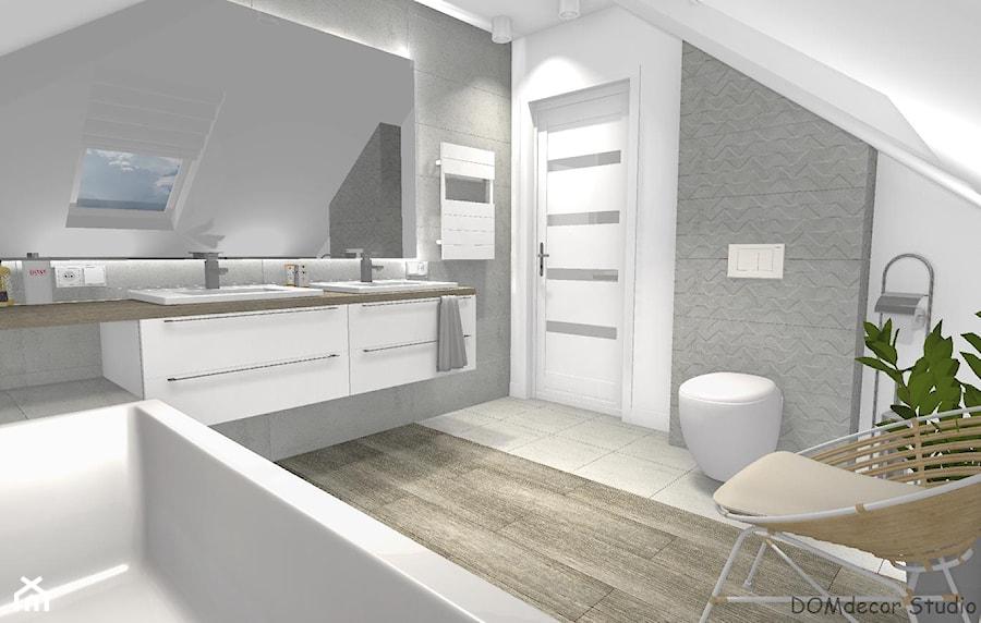Łazienka przy sypialni ze skosami - Średnia szara łazienka na poddaszu w domu jednorodzinnym z oknem, styl nowoczesny - zdjęcie od DOMdecor Studio Klaudiusz Klepacki
