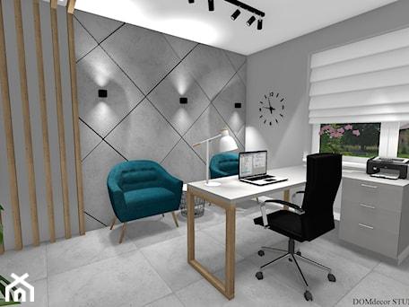 Aranżacje wnętrz - Biuro: Biuro sekretarki - Średnie szare biuro pracownia w pokoju, styl nowoczesny - DOMdecor Studio Klaudiusz Klepacki. Przeglądaj, dodawaj i zapisuj najlepsze zdjęcia, pomysły i inspiracje designerskie. W bazie mamy już prawie milion fotografii!