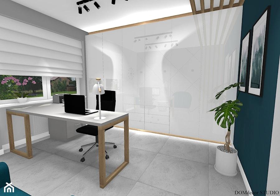 Biuro sekretarki - Średnie szare turkusowe biuro domowe w pokoju, styl nowoczesny - zdjęcie od DOMdecor Studio Klaudiusz Klepacki
