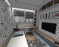 """Pokój chłopca - """"Krzysia"""" - Mały biały czarny pokój dziecka dla ucznia dla malucha dla nastolatka, styl skandynawski - zdjęcie od DOMdecor Studio Klaudiusz Klepacki"""
