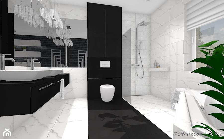 Czarno Biała łazienka Z Elementami Glamour Duża łazienka