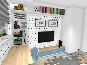 """Pokój chłopca - """"Krzysia"""" - Mały biały czarny pokój dziecka dla chłopca dla ucznia dla malucha, styl skandynawski - zdjęcie od DOMdecor Studio Klaudiusz Klepacki"""