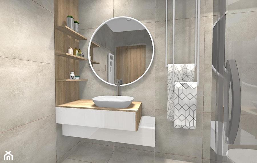 Mała łazienka W Stylu Nowoczesnym Mała Szara łazienka Na Poddaszu