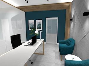 Biuro sekretarki - Małe szare turkusowe biuro domowe w pokoju, styl nowoczesny - zdjęcie od DOMdecor Studio Klaudiusz Klepacki