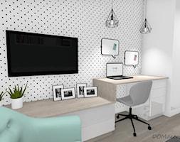 Pokój nastolatki - Mały biały czarny pokój dziecka dla chłopca dla dziewczynki dla ucznia dla nastolatka, styl nowoczesny - zdjęcie od DOMdecor Studio Klaudiusz Klepacki