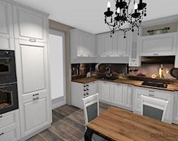 Biała kuchnia w stylu klasycznym - Średnia zamknięta beżowa kuchnia w kształcie litery l, styl klasyczny - zdjęcie od DOMdecor Studio Klaudiusz Klepacki