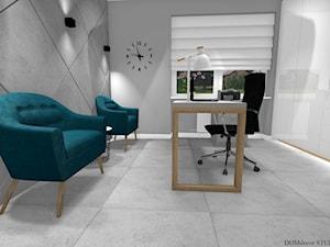 Biuro sekretarki - Średnie szare biuro pracownia w pokoju, styl nowoczesny - zdjęcie od DOMdecor Studio Klaudiusz Klepacki
