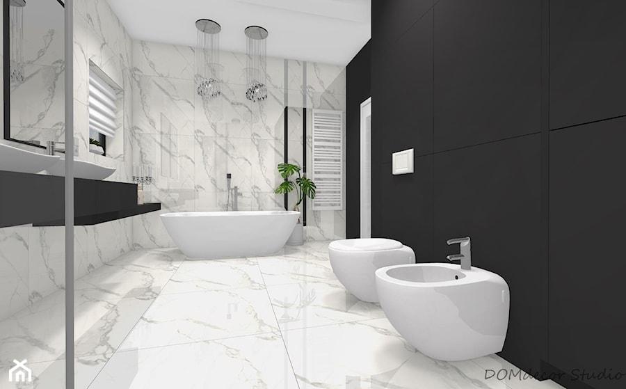 Marmurkowa łazienka W Stylu Glamour Duża Czarna łazienka W