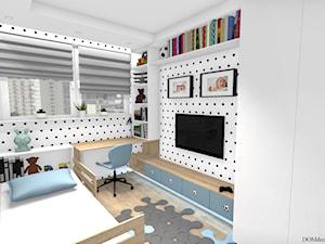 """Pokój chłopca - """"Krzysia"""" - Mały biały pokój dziecka dla dziewczynki dla ucznia dla malucha, styl skandynawski - zdjęcie od DOMdecor Studio Klaudiusz Klepacki"""