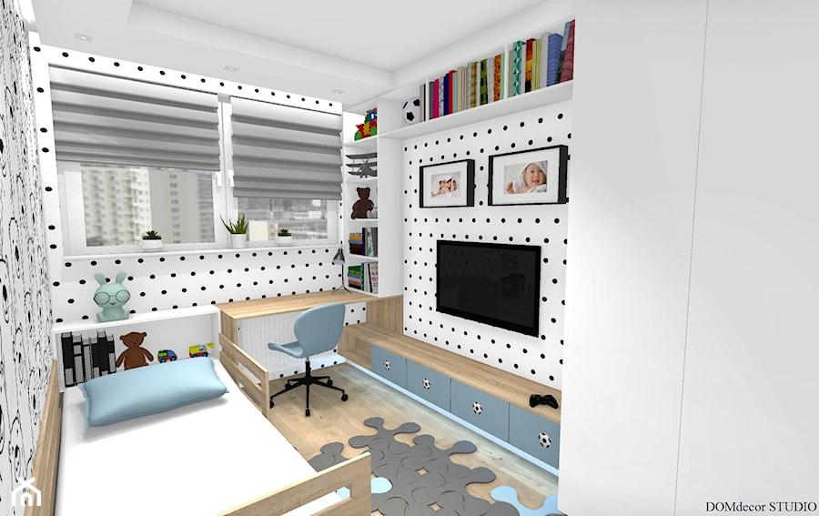 """Aranżacje wnętrz - Pokój dziecka: Pokój chłopca - """"Krzysia"""" - Mały biały pokój dziecka dla dziewczynki dla ucznia dla malucha, styl skandynawski - DOMdecor Studio Klaudiusz Klepacki. Przeglądaj, dodawaj i zapisuj najlepsze zdjęcia, pomysły i inspiracje designerskie. W bazie mamy już prawie milion fotografii!"""