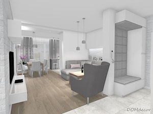 Przytulne wnętrze w bloku - Mały biały hol / przedpokój, styl nowoczesny - zdjęcie od DOMdecor Studio Klaudiusz Klepacki