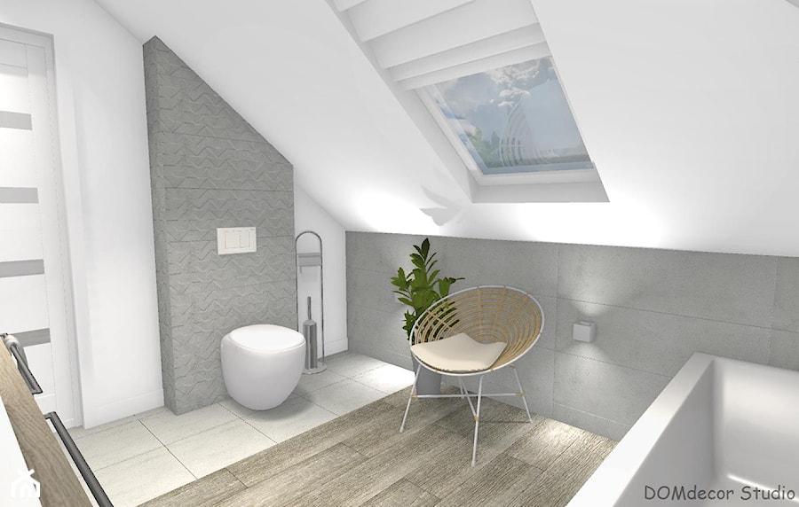 Łazienka przy sypialni ze skosami - Średnia biała szara łazienka na poddaszu w domu jednorodzinnym z oknem, styl nowoczesny - zdjęcie od DOMdecor Studio Klaudiusz Klepacki