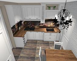 Biała kuchnia w stylu klasycznym - Mała zamknięta biała beżowa kuchnia w kształcie litery l, styl klasyczny - zdjęcie od DOMdecor Studio Klaudiusz Klepacki