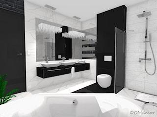 Czarno - biała łazienka z elementami glamour