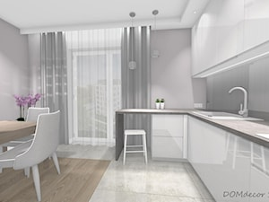 Przytulne wnętrze w bloku - Średnia szara kuchnia w kształcie litery l w aneksie z oknem, styl nowoczesny - zdjęcie od DOMdecor Studio Klaudiusz Klepacki