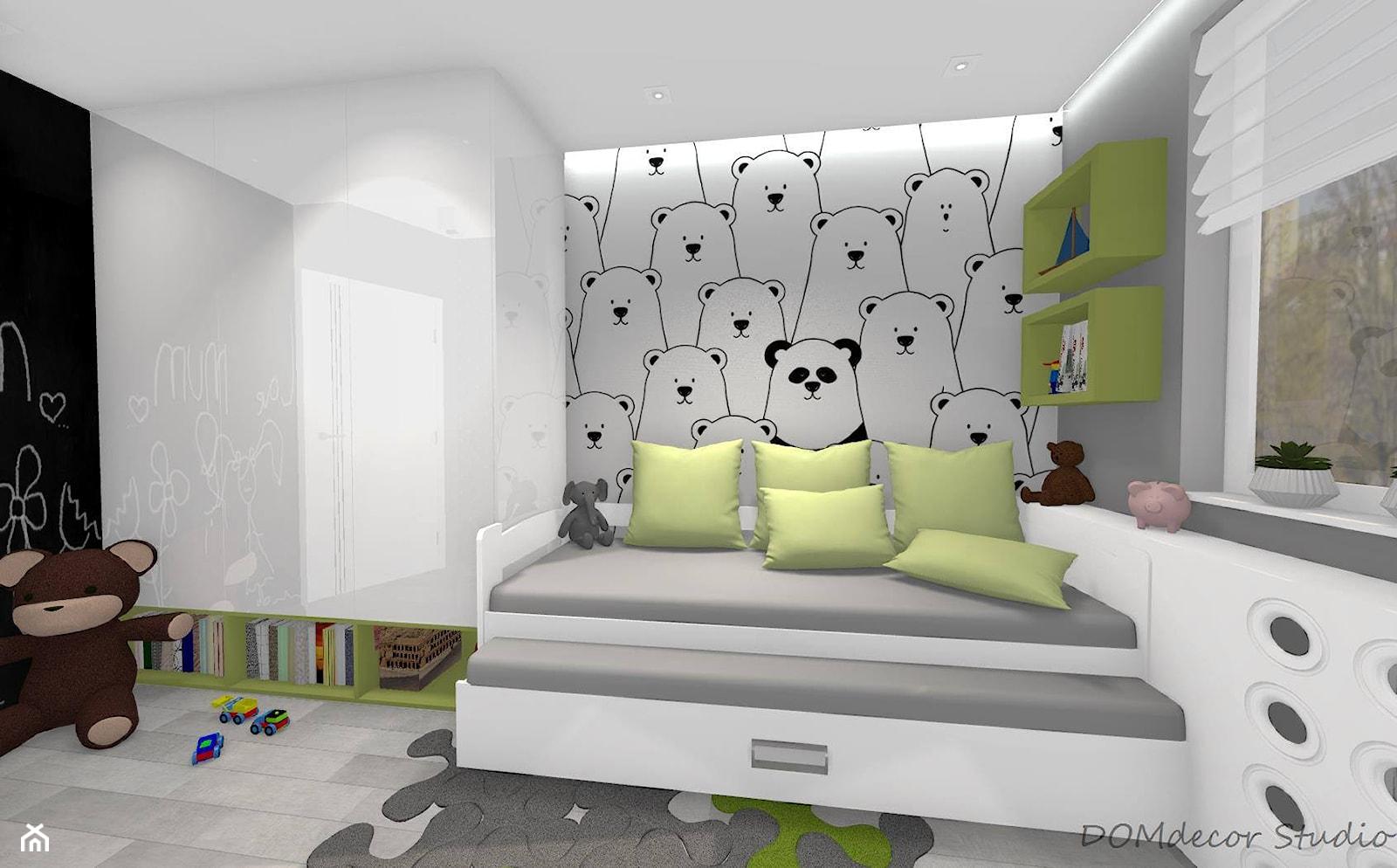 Pokój chłopców - Średni biały szary czarny pokój dziecka dla chłopca dla dziewczynki dla malucha, styl nowoczesny - zdjęcie od DOMdecor Studio Klaudiusz Klepacki - Homebook